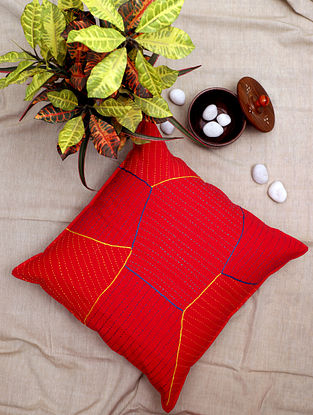 Red Kantha Cotton Cushion Cover (18in x 18in)