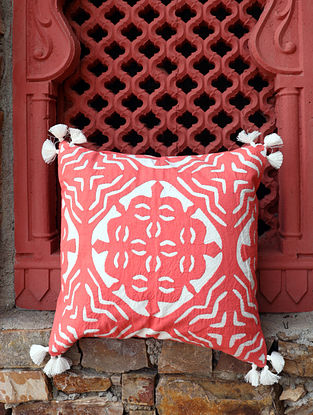 Pink and White Handcrafted Applique Work Cotton Cushion Cover (16in x 16in)