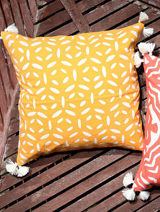 Orange and White Handcrafted Applique Work Cotton Cushion Cover with Tassels (16in x 16in)