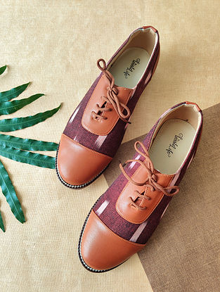 Maroon Handcrafted Ikat Faux Leather Shoes