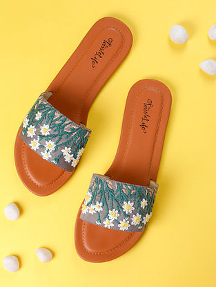 Multicolored Hand Embroidered Faux Leather Flats