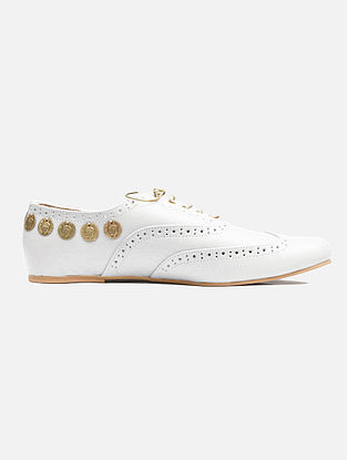White Handcrafted Leatherette Shoes