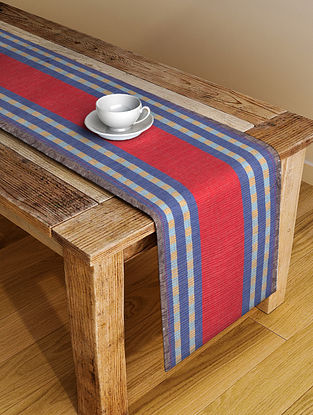 Red Handloom Cotton Table Runner (72in x 13in)
