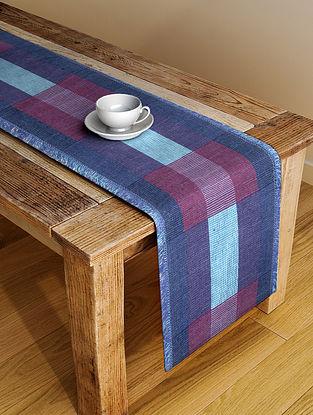 Blue Handloom Cotton Table Runner (72in x 13in)