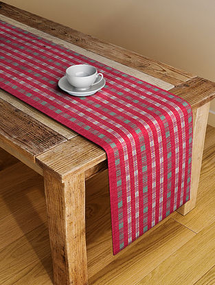 Red Handloom Cotton Table Runner (72in x 19in)