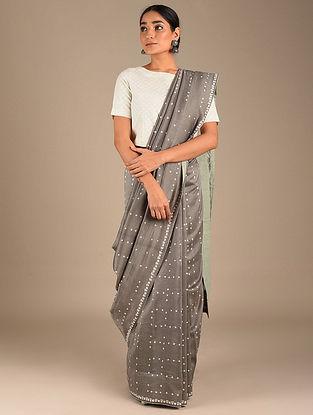 Grey Shibori Chanderi Saree