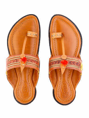 Tan Handcrafted Leather Kolhapuri For Men