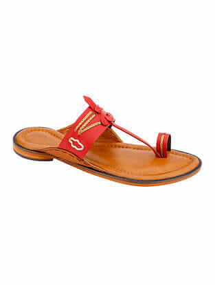 Red Handcrafted Leather Kolhapuri For Men