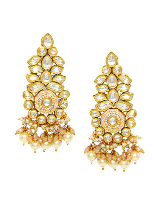 Peach Gold Tone Kundan Earrings