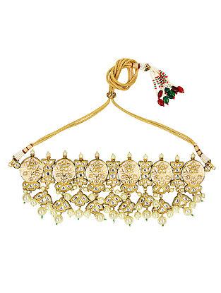 Peach Gold Tone Kundan Choker Necklace With Earrings