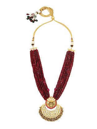 Maroon Gold Tone Kundan Beaded Necklace With Earrings