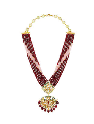 Red Pink Gold Tone Kundan Beaded Necklace With Earrings