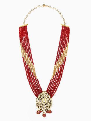 Red Gold Tone Beaded Kundan Jhumki Earrings