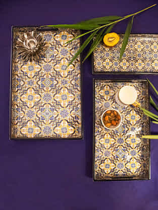 Venetian Blue and Yellow Handcrafted MDF and Wood Trays with Resin Coating (Set of 3)