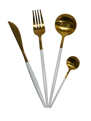 Moonlit Gold and White Handcrafted Stainless Steel Cutlery Set (Set of 24)