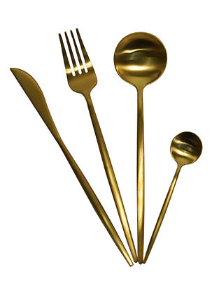 Eclectic Gold Handcrafted Stainless Steel Cutlery Set (Set of 24)