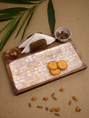 Earthy Brown and Ivory Handcrafted Mother of Pearl and Mango Wood Platter with Casted Aluminum Bowls (L - 12in, W - 8in, H - 3.25in)