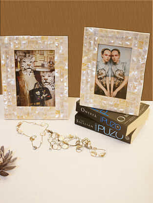 Ivory Handcrafted Mother of Pearl Photo Frames (Set of 2)