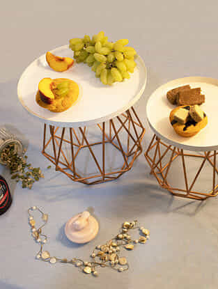 Hexagonal Gold Handcrafted Iron and Glass Wired Cake Stand