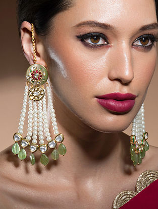 Green Gold Tone Kundan Beaded Earrings With Fluorides And Pearls