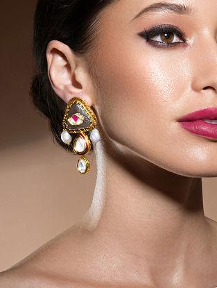 Red Grey Gold Tone Kundan Earrings With Onyx