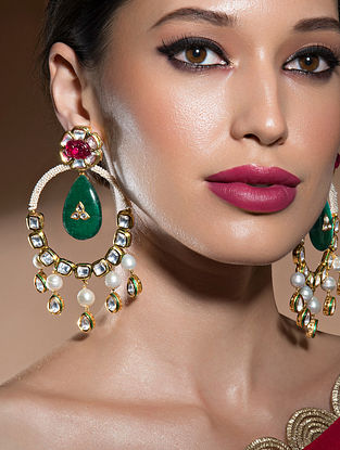 Green Red Gold Tone Kundan Earrings With Pearls And Onyx