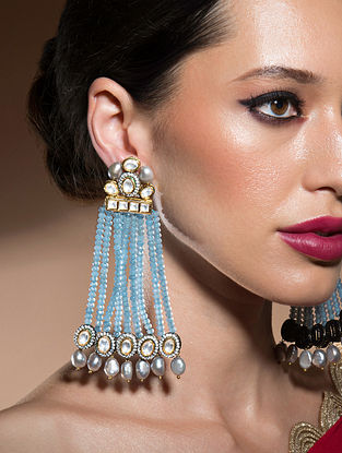 Blue Gold Tone Kundan Beaded Earrings With Agate And Pearls