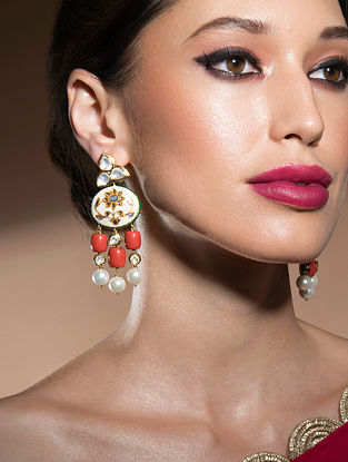 Pink Orange Gold Tone Kundan Enameled Earrings With Coral An Pearls