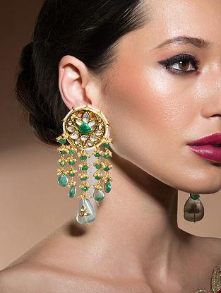 Green Gold Tone Kundan Earrings With Fluorides
