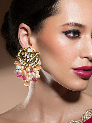 Orange Pink Gold Tone Kundan Earrings With Quartz And Pearls