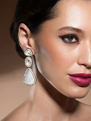 White Handcrafted Earrings With Swarovski And Onyx
