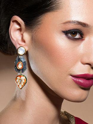 Orange Gold Tone Kundan Enameled Earrings With Agate