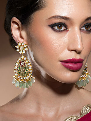 Green Red Gold Tone Kundan Earrings With Fluorides