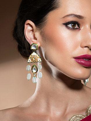 Green Gold Tone Kundan Enameled Earrings With Jade