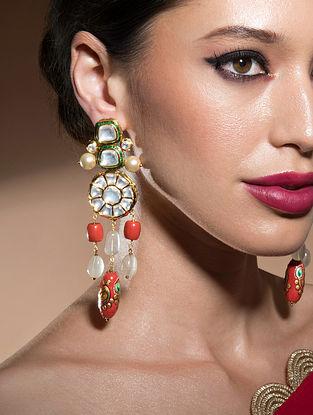 Orange Green Gold Tone Kundan Earrings With Jade And Coral