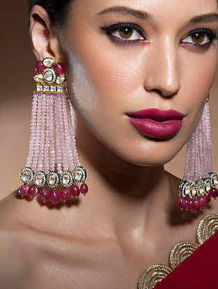Pink Red Gold Tone Beaded Kundan Earrings With Onyx And Agate