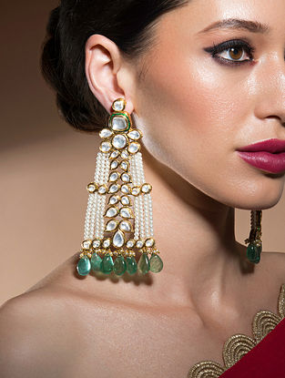 Green White Gold Tone Kundan Beaded Earrings With Fluorides And Pearls