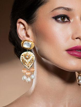 Orange Gold Tone Kundan Enameled Earrings With Pearls And Quartz