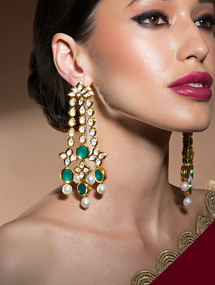 Green Gold Tone Kundan Earrings With Quarts And Pearls