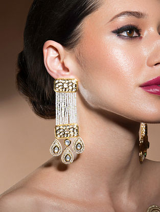White Gold Tone Kundan Earrings With Quartz And Pearls