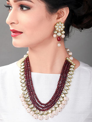 Red Pink Gold Tone Kundan Necklace And Earrings With Agate And Pearls