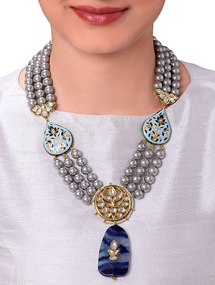 Blue Gold Tone Beaded Kundan Necklace With Pearls And Agate