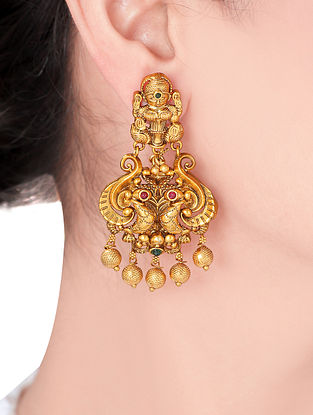 Gold Tone Temple Work Earrings
