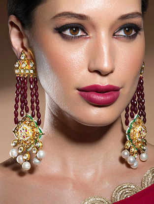 Red Gold Tone Kundan Beaded Earrings With Pearls
