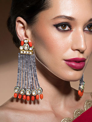 Grey Orange Beaded Kundan Earrings With Coral And Agate