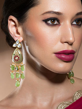 Green Red Gold Tone Kundan Earrings With Jades