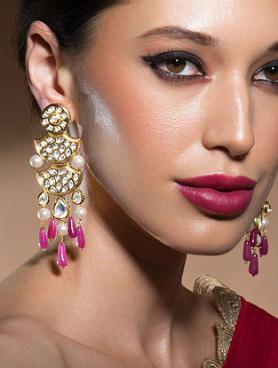 Pink Gold Tone Kundan Earrings With Pearls And Jade