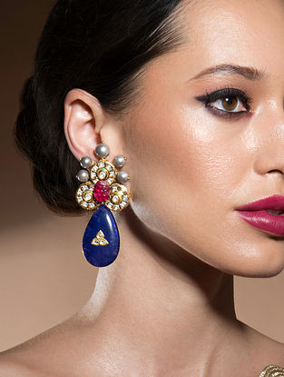 Blue Red Gold Tone Kundan Earrings With Onyx