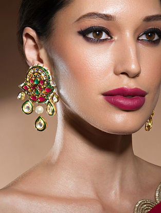 Green Red Gold Tone Kundan Earrings With Pearls