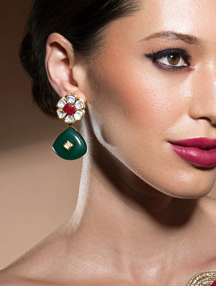 Green Red Gold Tone Kundan Earrings With Onyx
